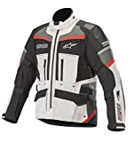 Andes Pro Drystar Waterpoof All-Weather Touring Motorcycle Jacket for Tech-Air Street Airbag System (Medium, Light Gray Black Dark Gray Red)