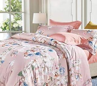 حجم كينغ,نسيج قطن,نمط مزين بالورود الوردية,Pink King size 7 pcs - اطقم اغطية سرير