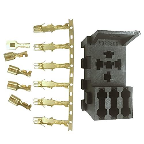 Relé de Coche Ajuste para el relé de yate automotriz y 3 kit de soporte de fusible 4, 5 pines y fusibles para el tenedor del fusible del relé (Color : Black)