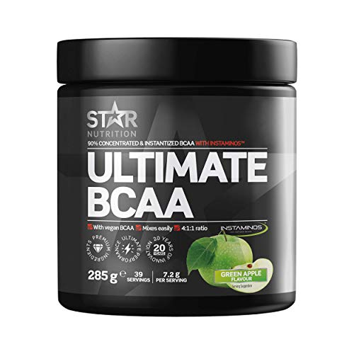 Star Nutrition | Ultimate BCAA Powder | BCAAS Amino Acids 4 1 1 Free of Carbs & Sugar Suitable for Vegans | Apple Flavor | 285 Gr