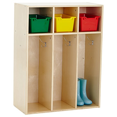 ECR4Kids Birch Streamline Classroom Locker - Hardwood Coat & Backpack Storage for Kids - 3-Section, Toddler (36