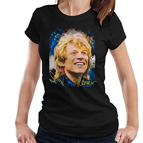 VINTRO Jon Bon Jovi Smile Damen T-Shirt Original Portrait von Sidney Maurer Professionell bedruckt Gr. Large, Schwarz