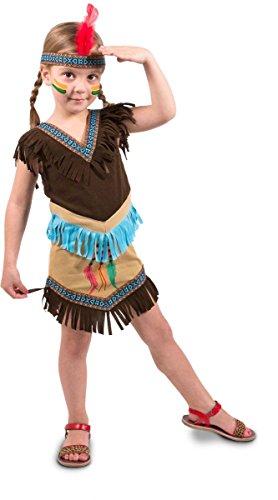 Vestido de indígena americana con cinta de pelo para niña, 98/116