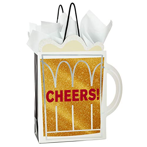"""Hallmark 9"""" Medium Gift Bag with Tissue Paper (""""Cheers!"""" Beer Mug) for Christmas, Father"""