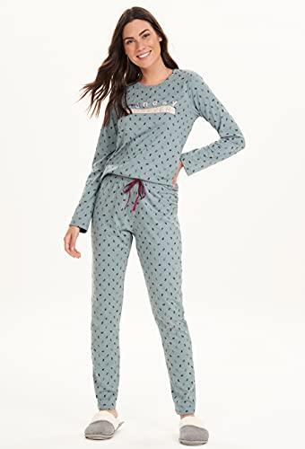 Pijama Longo Feminino Cor com Amor Cor:Azul;Tamanho:GG