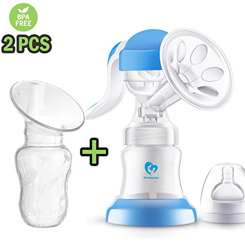 Bellababy 2 Pieces Manual Breast Pump Kit Includes a Rotatable Pump and a Silicone Pump Soft and...