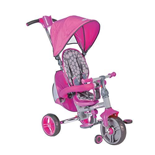 Mondo Toys – Strolly Compact Triciclo / Cochecito para niños – Manija a presión, Tienda Parasol, Mochila portaobjetos – Desde 12 Meses hasta 3 años