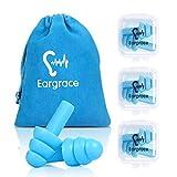 Wiederverwendbare Silikon-Ohrstöpsel - 3 Paare - SNR 31, wasserdicht, weich, hypoallergen - Komfortable Gehörschutzstöpsel für das Rauschunterdrückung zum Schlafen und für Flugzeuge mit Reisetasche