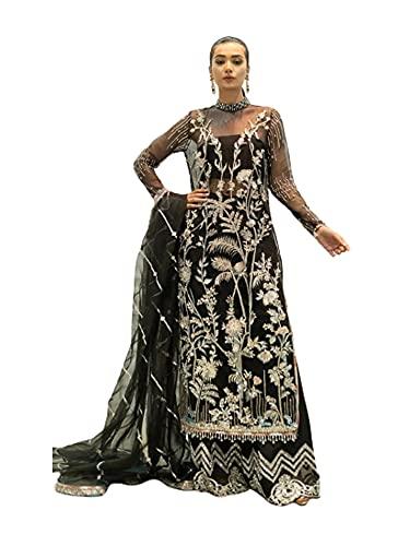 Black Muslim Net listo para usar Indian Pakistani Salwar kameez palzzo Party Suit 6523, Negro, XL