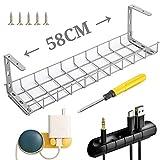 ケーブルトレー ケーブルオーガナイザー ワイヤーケーブルトレー 配線 整理 ケーブルラック 頑丈で錆びにくく、取り付けが簡単(58CMX16CM)