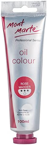 Mont Marte Premium Oil Paint 100ml 3 4oz Rose Madder Good Coverage Excellent Tinting Strength product image