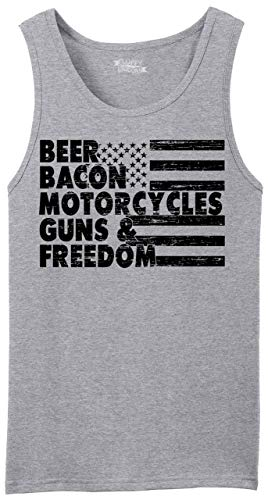 Men's Tank Top Beer Bacon Motorcycles Guns & Freedom Tee Gun Rights American Sport Grey XL