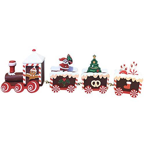 Eariy Navidad Decoraciones de madera Cuatro Festival tren juguete,Decoración de Navidad Set de dibujos animados Decoración del hogar,para niños Car Toy Party Games Decoraciones Props