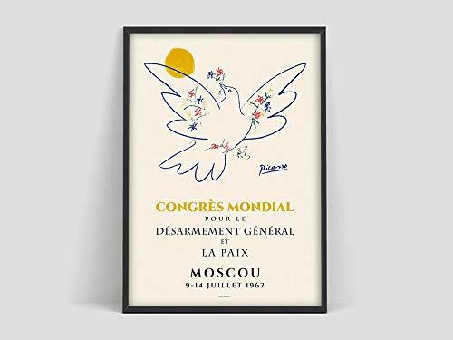 Póster de la paloma de Picasso, boceto de la paloma de Picasso, impresión de la paloma de Picasso, arte minimalista, lienzo sin marco familiar Q 60x80cm