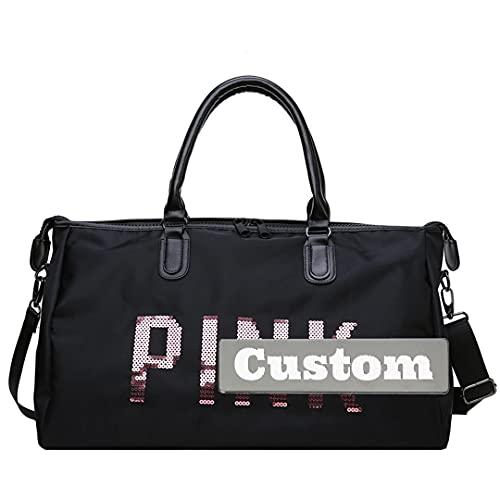 FireH Bolsa de lona con compartimento para nombres personalizados, plegable, para hombres, para viajar, color negro, tamaño: talla única