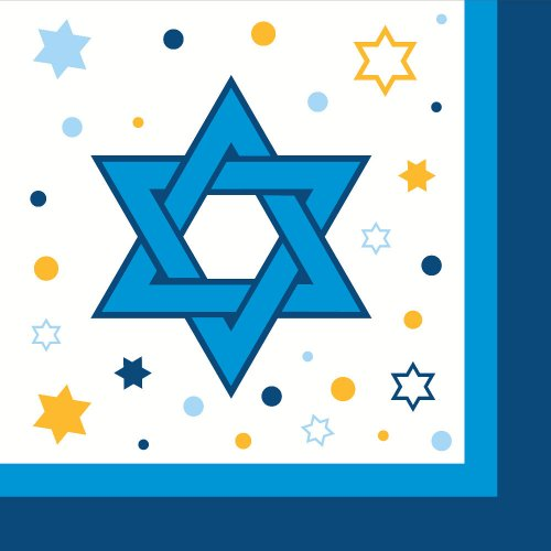 Stars Of Hanukkah Lunch Napkins 18 Pack