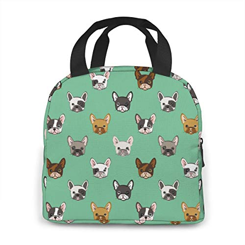 Cute French Bulldog Portable Insulated Lunch Bag,Lunch Cooler Tote Bag For Work School Travel Lunch Box With Front Pocket Ice Pack