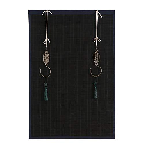 LM-Coat rack XINGLL Raffrollo, Bambus-Vorhang-Raffrollo, Kupferhaken, manuelle Einfassung, aufrollbar, für Hintergrunddekoration, Teehaus (Farbe: Schwarz, Größe: 50 x 200 cm)