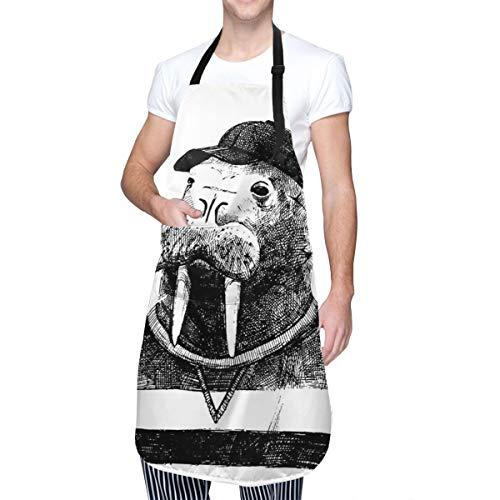 COFEIYISI Delantal de Cocina Boceto de arte de una morsa con una pipa y una gorra vestida con estilo hipster Delantal Chefs Cocina para Cocinar/Hornear
