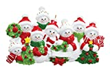 Family of 8 Snowmen Personalized Christmas Tree Ornament