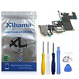 Xlhama - Conector Dock de repuesto para iPhone 6 (negro) con micrófono jack de audio y antena preinstalada, incluye kit de herramientas de reparación para instalación fácil