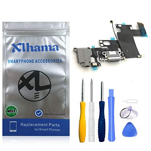 Xlhama Connector Dock Compatible con iPhone 6 (Negro) Charging Port Puerto de Carga de Repuesto Puerto USB de Carga, Cable Flexible, Micrófono, Conector de Audio, Antena, Incl.Tools