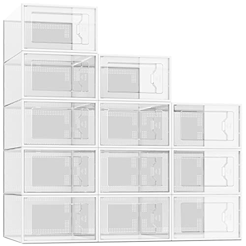 12 Pack Shoe Storage Box, Clear Plastic Stackable Shoe Organizer for Closet, Space Saving Foldable Shoe Containers Bins Holders