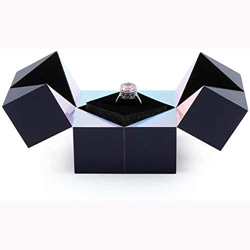 SZGXQML Creative S925 - Joyero de plata para anillos, pulseras y puzzle, diseño de cubo mágico, ideal para organizar el día de San Valentín, bodas, anillos para propuesta