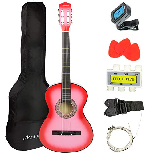 Martin Smith 38 Inch Acoustic Guitar, Pink, With Case, Pick, Tuner, Strap, Extra Strings and 2 months of Lessons
