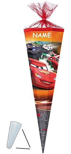 alles-meine.de GmbH Schultüte -  Disney Cars - Lightning McQueen  - 85 cm - eckig - incl. Namen - Tüllabschluß - Zuckertüte - mit / ohne Kunststoff Spitze - für Jungen - Auto M..