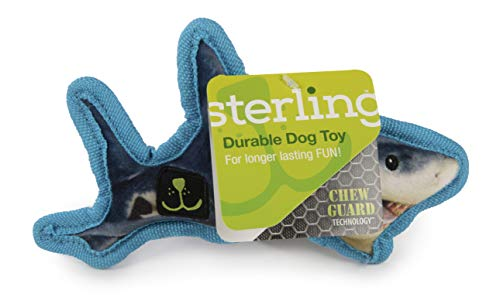 Sterling Ocean Habitat Shark with Chew Guard Technology Durable Plush Squeaker Dog Toy, Small
