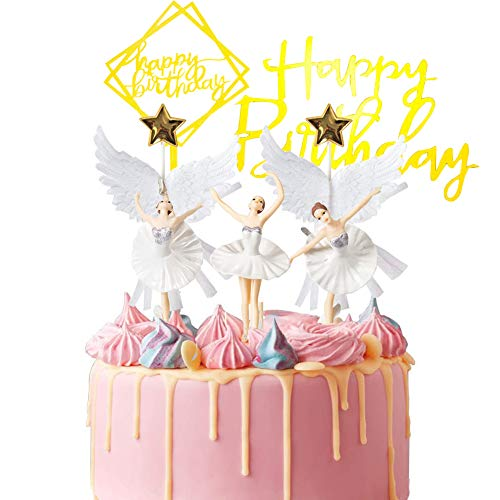 BAIBEI Tortenaufsatz, Ballerina Kuchendekoration, Kuchendekoration, Happy Birthday, Gold, Acryl, Cupcake-Topper Pentagramm, Engelsflügel, Babyparty, Partyzubehör, 7 Stück