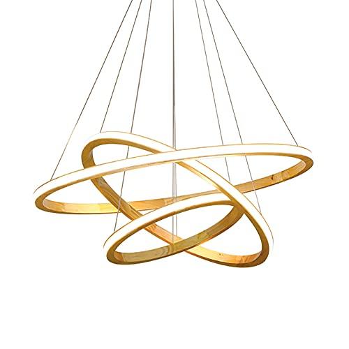 Moderna LED Lámpara Colgante,Nórdico -Anillo Madera Chandelie,Regulable Acrílico Lámpara Colgante Mando A Distáncia,Para Sala Dormitorio Comedor-Blanco 16+24+31inch
