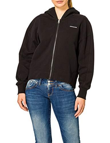 Calvin Klein Jeans Damen Micro Branding Zip-Through Pullover, Ck Schwarz, L