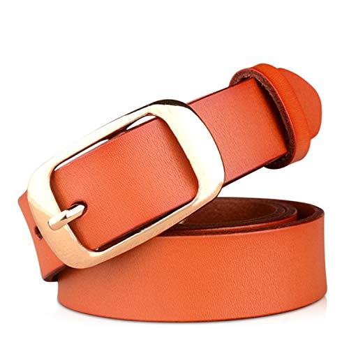 DORRISO Elegante Cinturón Mujer Cinturón de Piel vacuno Para Mujeres Con la hebilla del Pin de la Aleación Viajar Cinturón 105CM 110CM 115CM