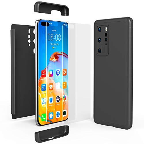 NALIA 360 Grad Handyhülle kompatibel mit Huawei P40 Pro Hülle, Hard-Case & Display-Schutzfolie, Full-Cover Rundum Skin Schutzhülle Slim Etui Case, Handy-Tasche Screen Protector Folie, Farbe:Schwarz