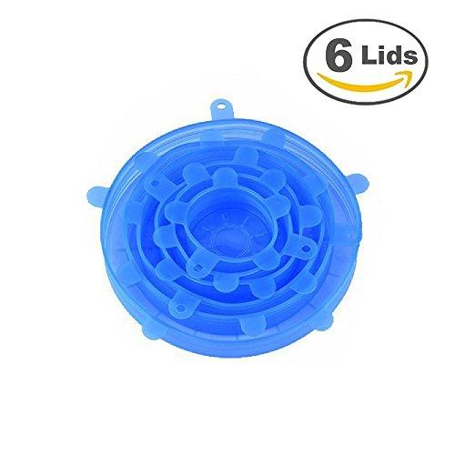 Junlong Lot de 6 Multi Taille en silicone Réutilisable couvercles couvertures de nourriture et bol, lave-vaisselle et congélateur bleu