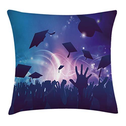 Funda de Cojine Funda de cojín de almohada de tiro de graduación, concepto de multitud de convocatoria con manos de estudiantes lanzando birretes Throw Cojín 45 X 45CM