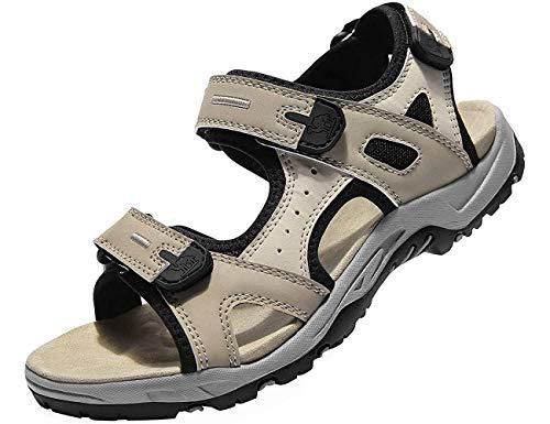 CAMEL CROWN Damen Sommer Sandalen Sport Outdoor Trekking Wander Sandale mit Klettverschluss Verschleißfest Leichte Verstellbaren rutschfest Strand Reise Bequem Offener Zeh Sandale Beige 41 EU
