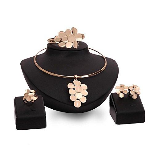 GYJUN Schmuck 1 Paar Ohrringe 1 Armreif Halsketten Ringe Strass Hochzeit Party Aleación 1 Set Damen Goldfarben Hochzeitsgeschenke, Jewelry Set