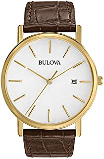 Bulova Men's 97B100 Gold-Tone Stainless Steel Watch With Brown Leather Band