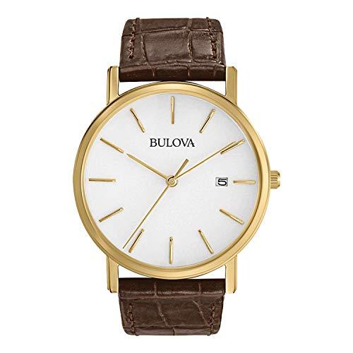 Bulova Herenhorloge analoog kwarts horloge met lederen armband 97B100