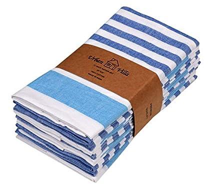 Urban Villa Impresión de Puntos y Rayas Servilletas 100% algodón Juego de 12 servilletas de Tela de tamaño Gris/marrón de 51x51 CMS Servilletas (Juego de 12) Lblue/Rblue/White