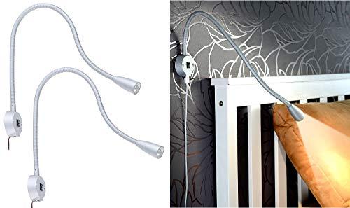 Lunartec Schwanenhalsleuchte: 2er-Set LED-Bett- & Leseleuchten, Schwanenhals & USB-Ladebuchse, je 3W (LED Leselampe)