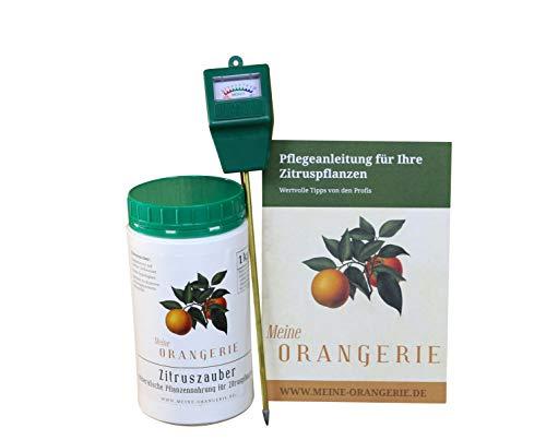 Meine Orangerie Zitrus-Pflegepaket Piccolo: Starker Zitrusdünger + nützlicher Feuchtigkeitsmesser + hilfreiche Pflegebroschüre