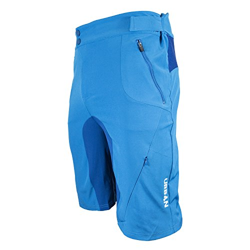 Urban Cycling Apparel Flex MTB Trail Shorts - Soft Shell Mountain Bike Shorts with Zip Pockets and Vents Blue
