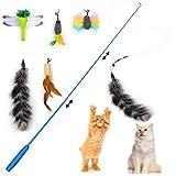 KATELUO Juguete Pluma de Gato, Juguetes para Gatos, Natural de Plumas Varita Gato Juguete con 5 Recargas Pluma, Juguete para Gatos (6pcs)