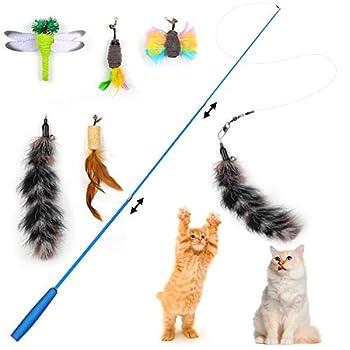 KATELUO Jouet à Plume pour Chat, Jouet Interactif Chat, Cat Teaser Wand Rétractable avec 5 Plumes Rechange,Jouet Chat pour Chaton Chat (6pcs)
