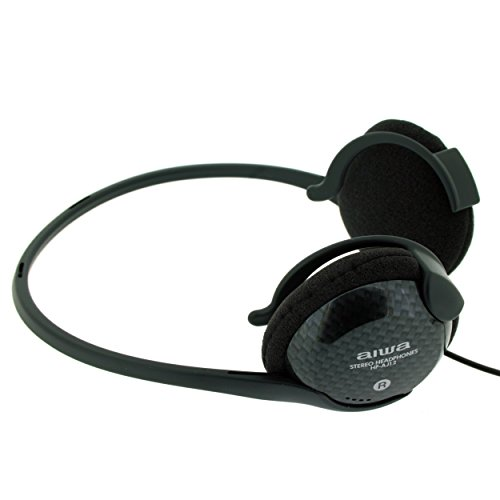 AIWA HP-AJ12 - Auriculares Stereo Neckband - Clavija 3,5 mm chapada Oro - Negro