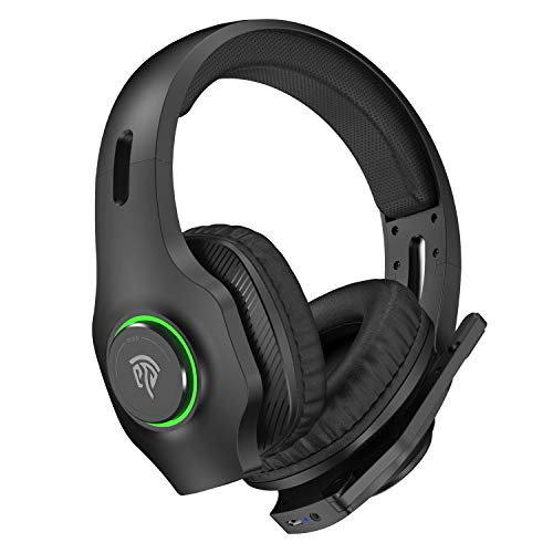 EasySMX Wireless Gaming Headset 2.4GHz with 7.1 Surround Sound & Noise Canceling Microphone, Wireless Headset with RGB Automatic Gradient Lighting, Suitable for Nintendo Controller, PS4/PS5, iPad, PC
